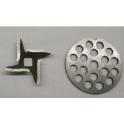 Комплект для электромясорубок ПОМОЩНИЦА нож + решетка крупная+ решетка мелкая.