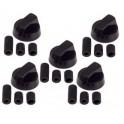 Ручки переключения режимов для плиты универсальные черные (комплект 5 шт.)